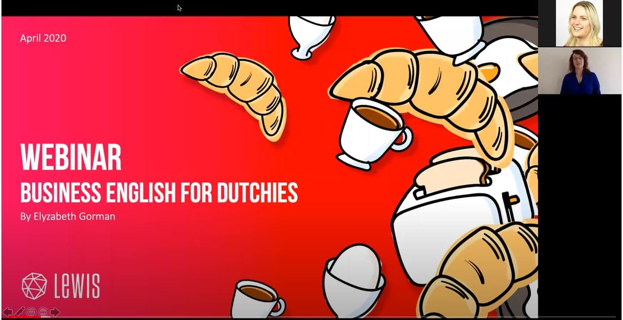 Screenshot, LEWIS Webinar: Business English for Dutchies